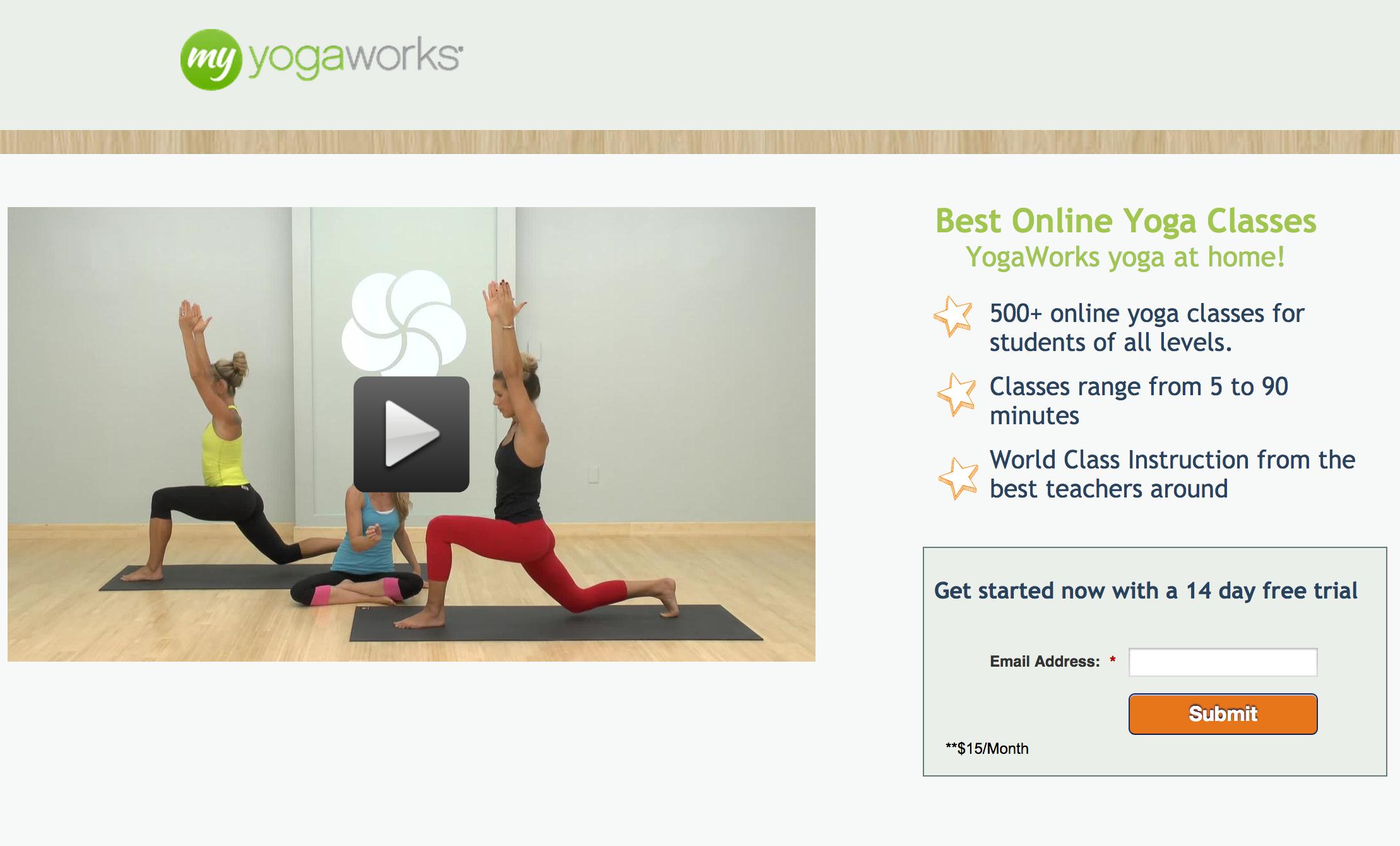 yogaworks landing page