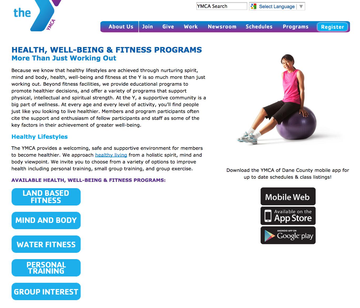 YMCA landing page