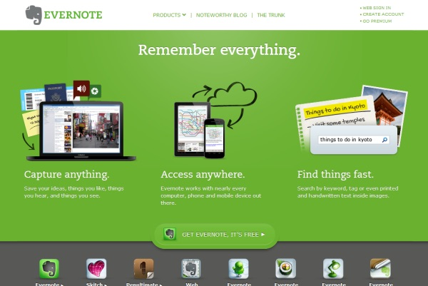 Evernote landing page picturing a laptop tablet and phone