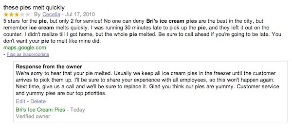 Google Maps review for ice cream pie restaurant