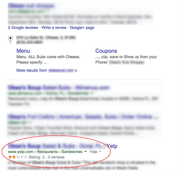 two star Yelp review in Google SERPs