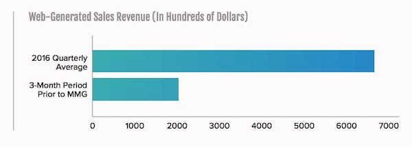 FDA Group web generated sales revenue by dollars graph