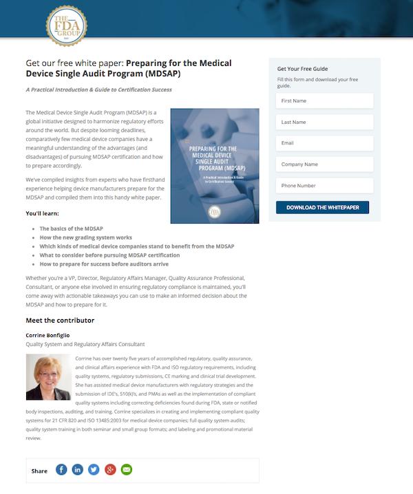 Screenshot of FDA Group medical device audit prep white paper