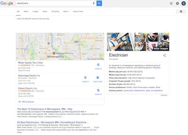 Minneapolis google search results for electricians