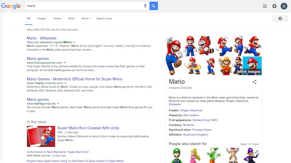 google search results for mario showing Nintendo Mario