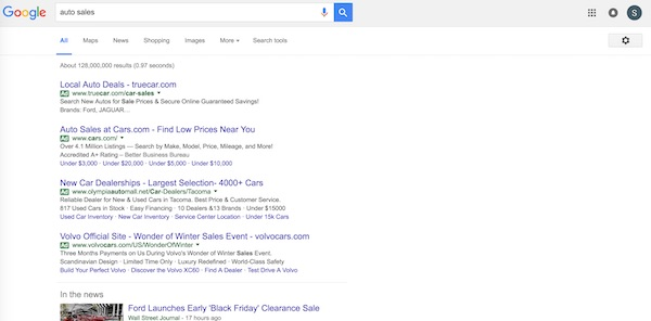 google search results for auto sales
