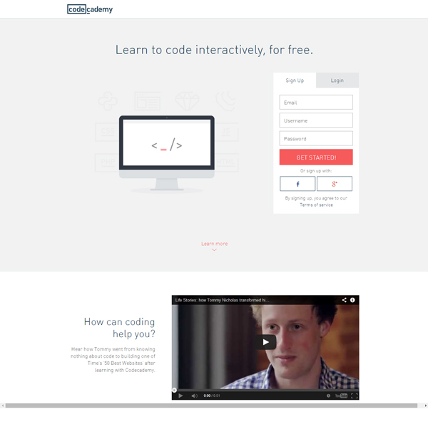 Codecademy landing page with video and form