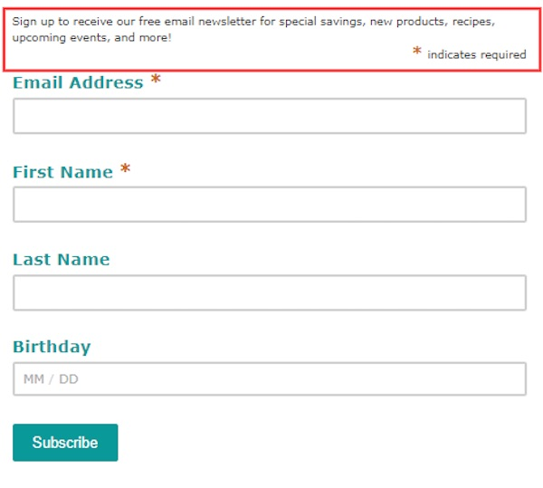 form that includes value proposition