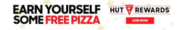free pizza ad with Hut Rewards logo and CTA