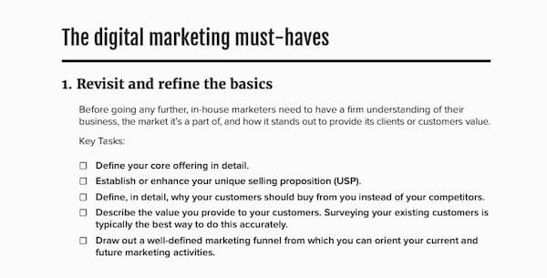 digital marketing checklist screenshot