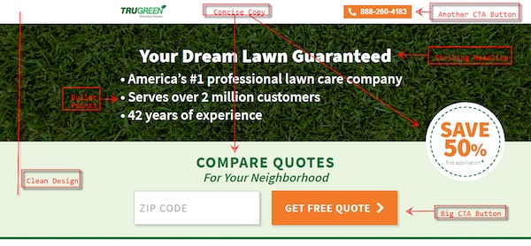 lawn care landing page with CTAs nice design and concise copy