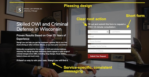 well designed law firm landing page
