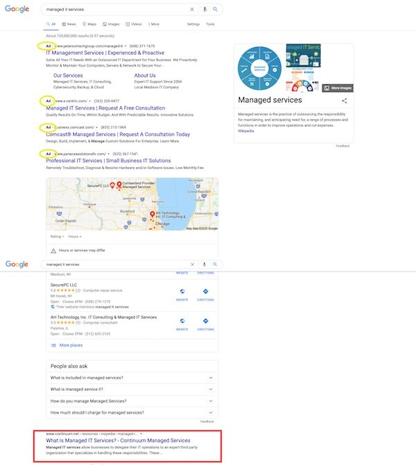 paid organic search results for managed IT services