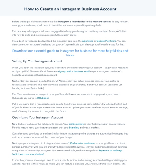 how to create instagram business account pillar page