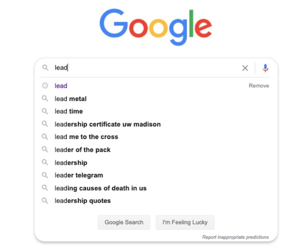 ambiguous Google search query with autosuggestions