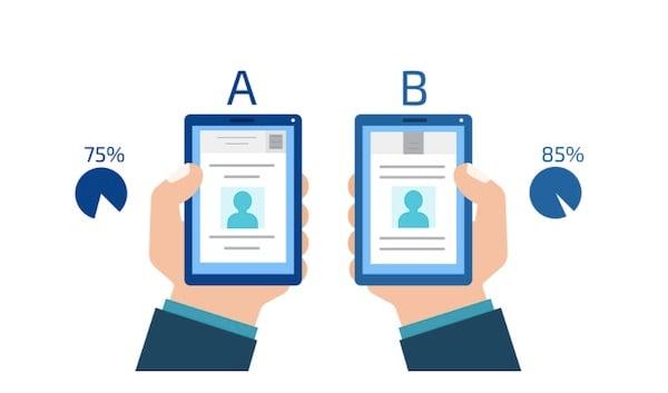 AB test on mobile phones illustration