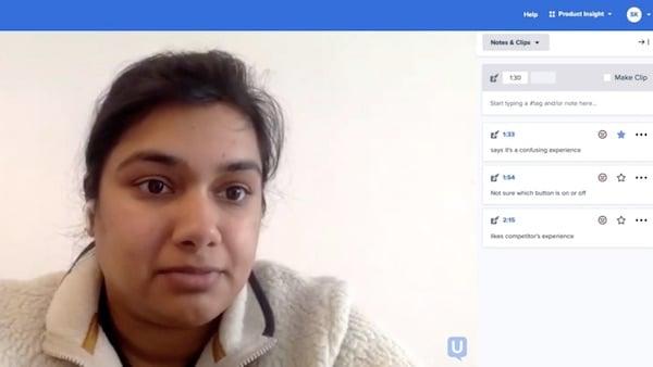 Female UserTesting usability tester working