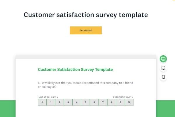 Survey Monkey customer satisfaction survey template