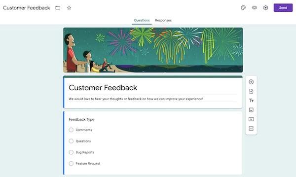 Google Forms customer feedback survey template