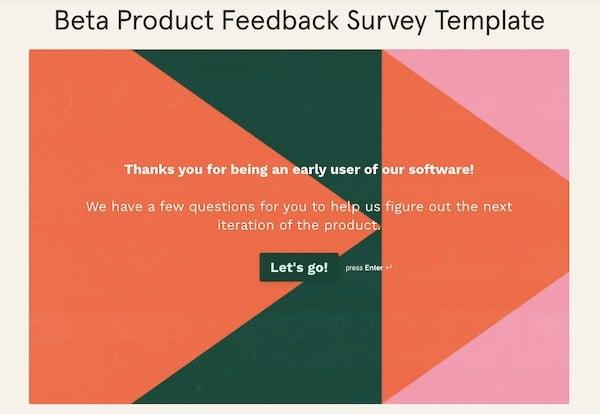 Typeform product feedback survey template