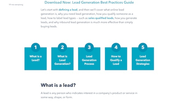 sections of lead generation pillar page