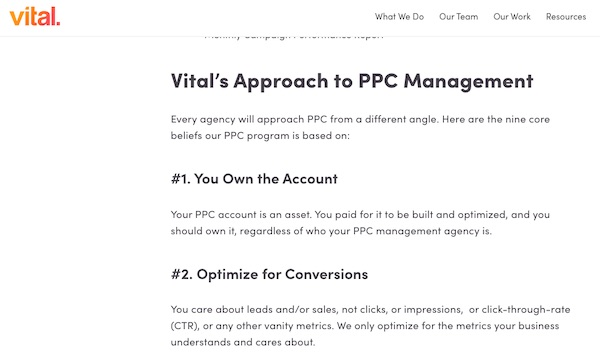 section of ppc management services pillar