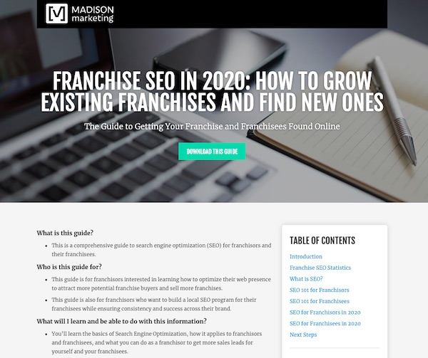section of franchise SEO how to pillar page