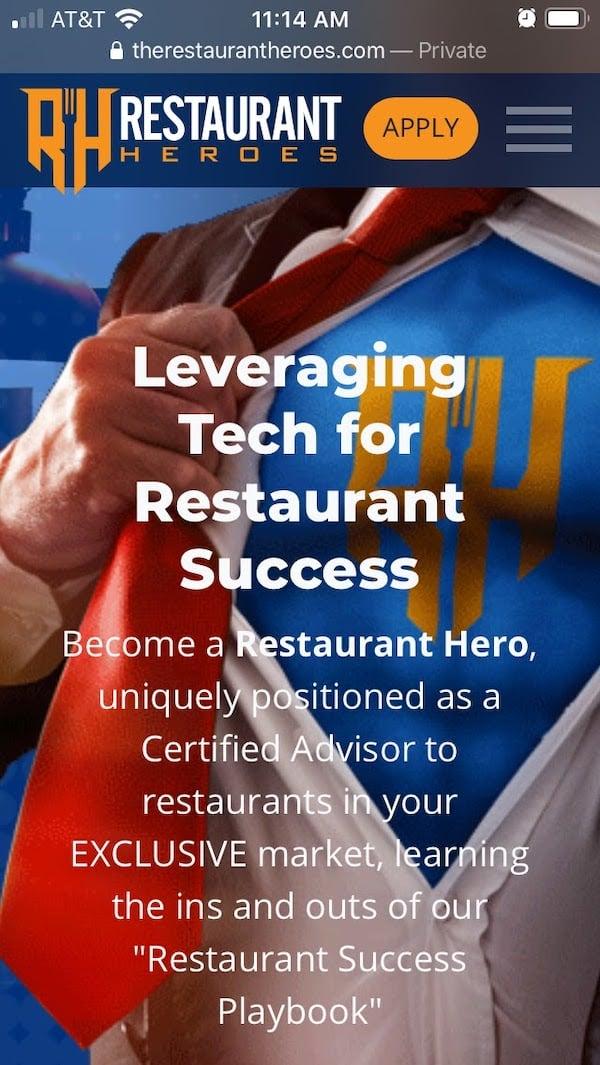 mobile homepage for restaurant IT franchise