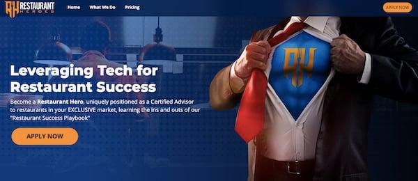 desktop homepage for restaurant IT franchise