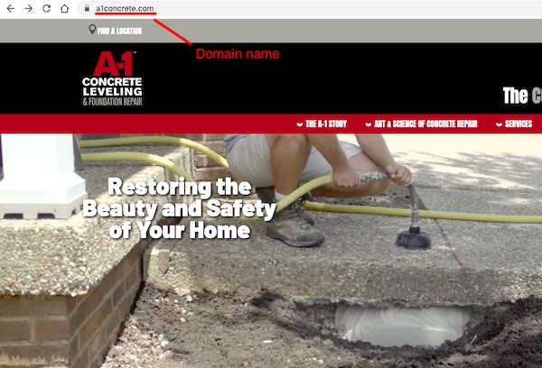 domain name in searchbar above concrete leveling website