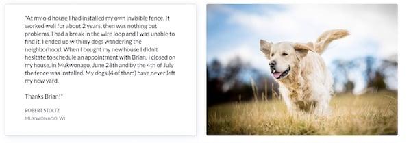 franchise client testimonial beside dog photo