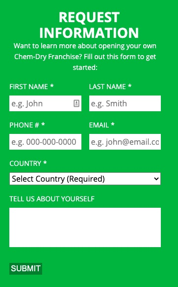 green franchisee recruiting form