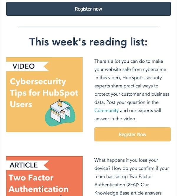 HubSpot featured content newsletter