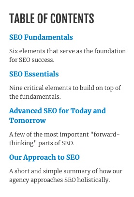 SEO guide table of contents
