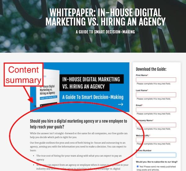 content summary page for white paper