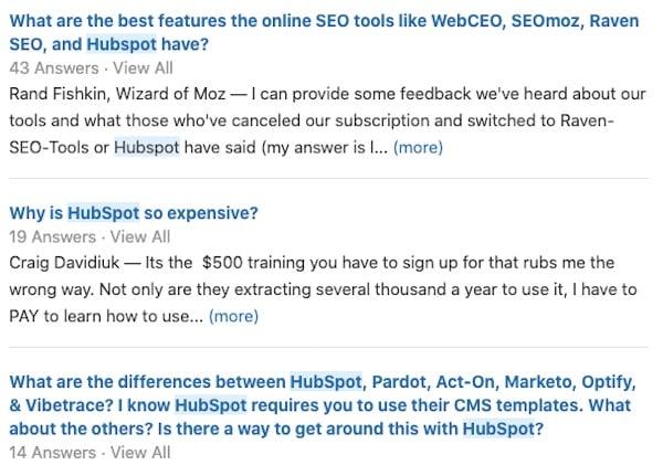 Quora threads about HubSpot