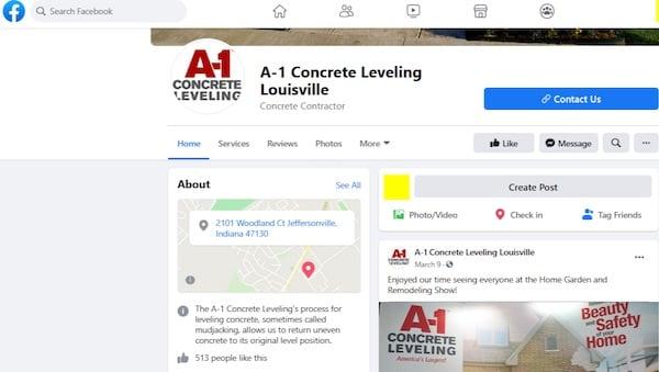 A1 Concrete Facebook page