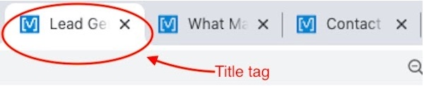 title tag in browser tab