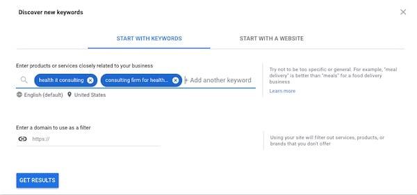 searching for multiple keywords in Keyword Planner