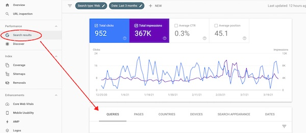 query tab in Google Search Console