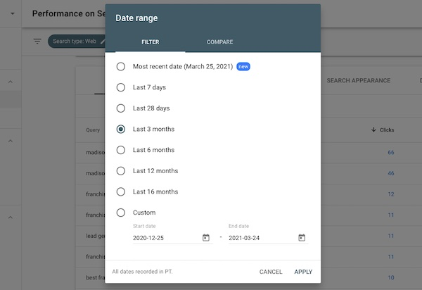 date range in Google Search Console
