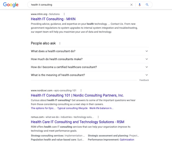 organic search results for health it consulting