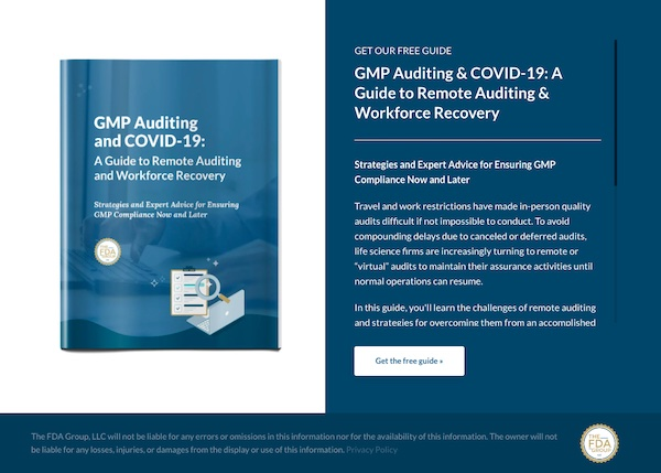 GMP auditing and Covid 19 white paper landing page
