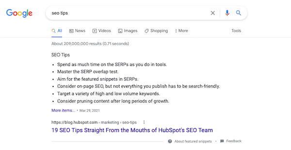 featured snippet search result