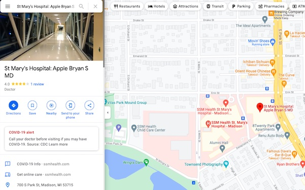 google my business profile of doctor at hospital