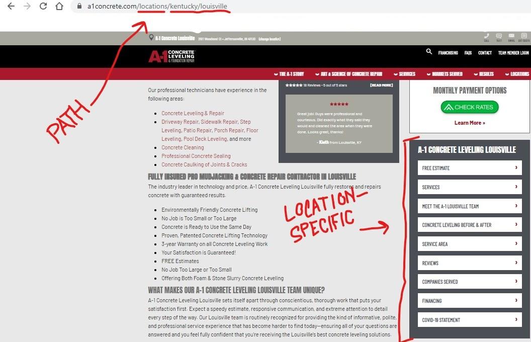 A1 Concrete Kentucky location page