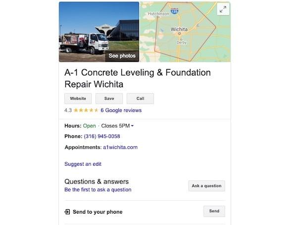 A1 concrete leveling Wichita business profile