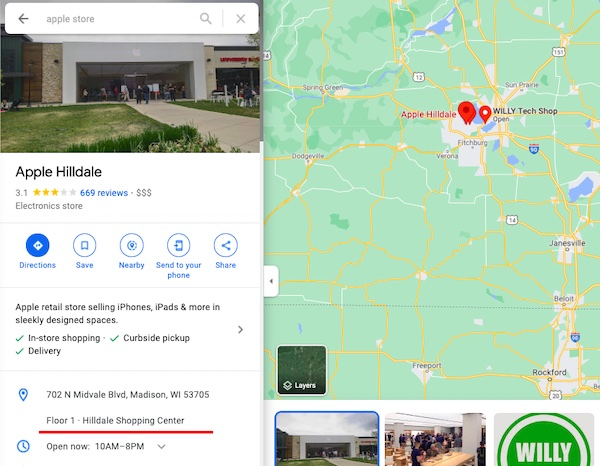 apple location inside hilldale mall as shown in Google My Business