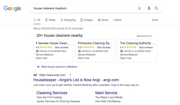 ads for house cleaners madison in Google Search