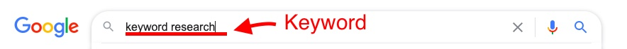 keyword in Google search bar